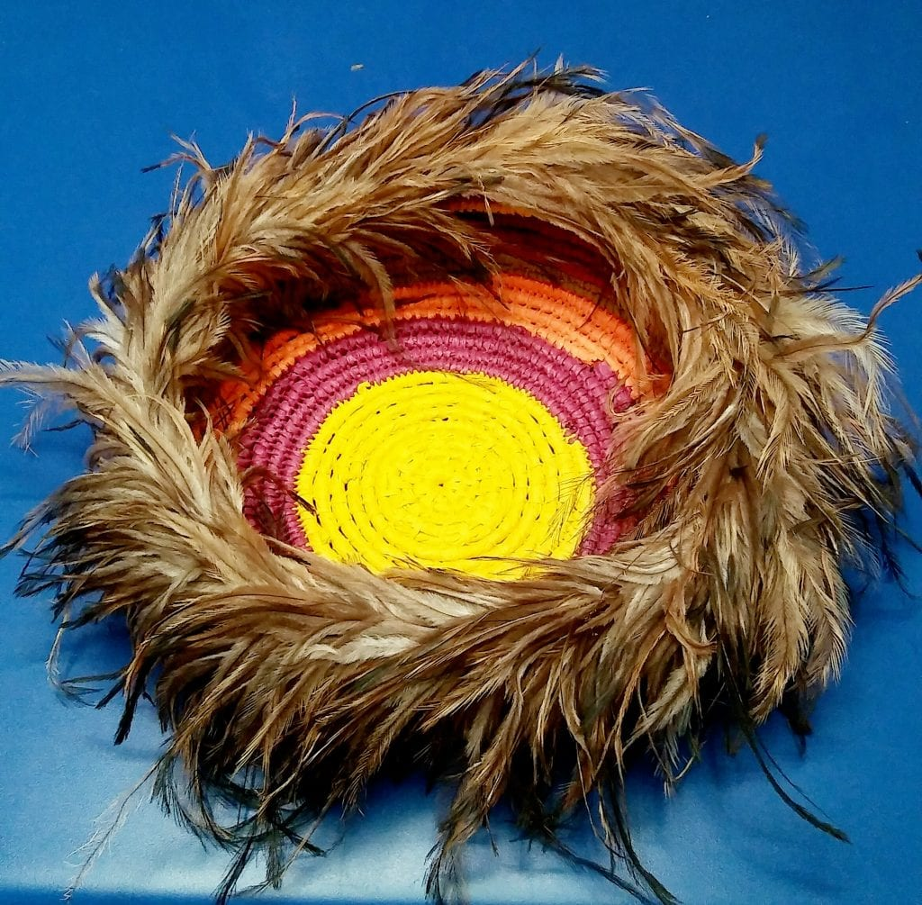 emu feather basket