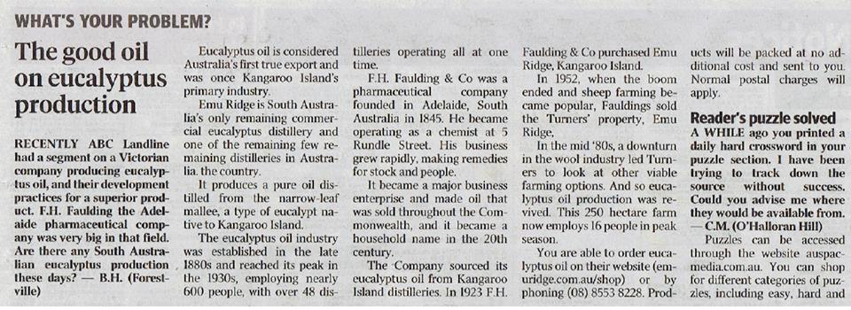 Emu Ridge Was Featured In An Article In The Advetiser