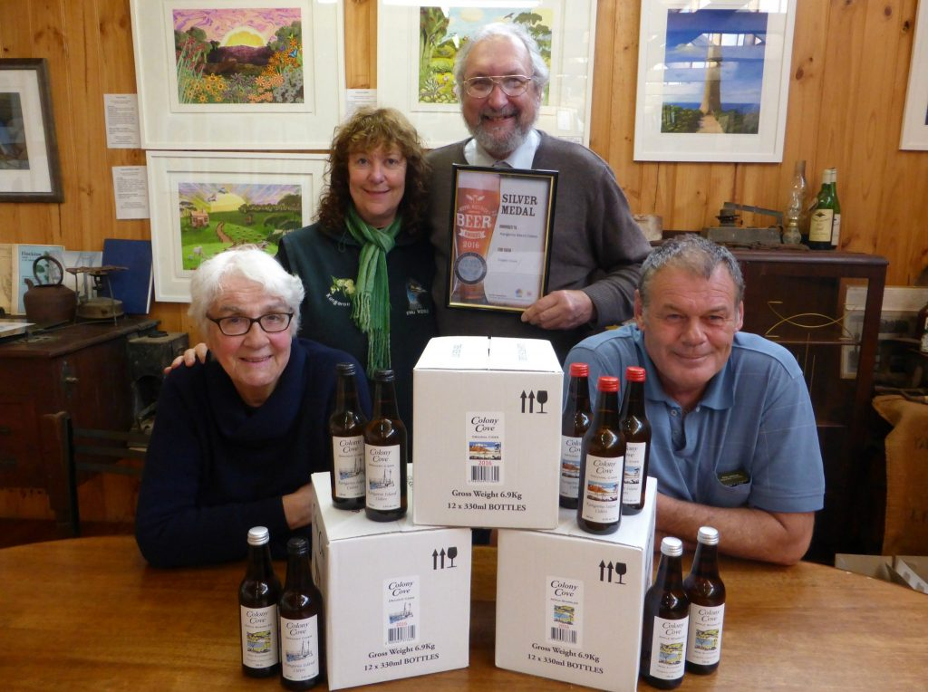 NEW LOOK: Graham and Mary Jones of Kangaroo Island Ciders with Larry and Beverley Turner at Emu Ridge Eucalyptus Distillery with the launch of the 2016 Season Colony Cove Ciders.