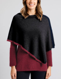 l2008 north coast poncho light charcoal red violet